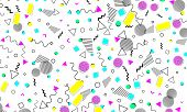 Pop Art Color Background. Memphis Pattern Of Geometric Shapes For Tissue And Postcards. Vector Illus poster