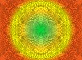 Bright Sunny Decorative Psychedelic Ornament, On Green Yellow Orange Colors Gradient Background. Vec poster