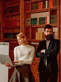 Virtual World Concept. Sensual Woman Enjoy Advantages Virtual World Provide In Education. Business W poster