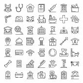 Pets Hotel Icons Set. Outline Set Of Pets Hotel Vector Icons For Web Design Isolated On White Backgr poster