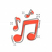 Vector Cartoon Music Icon In Comic Style. Sound Note Sign Illustration Pictogram. Melody Music Busin poster