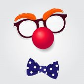 Funny Clown Accessories. Clown Glasses, Red Nose And Bow Tie On White Background. Vector Illustratio poster