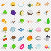 Vegetarian Dish Icons Set. Isometric Style Of 36 Vegetarian Cafe Vector Icons For Web For Any Design poster