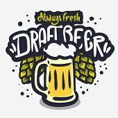 Draft Beer Hand Drawn Vector Design On A White Background With A Mug Of Beer And Beer Hops poster
