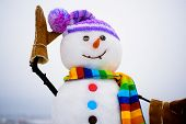 Handmade Snowman In Hat&scarf. New Year Attribute. Christmas Decoration. Cute Snowman In Knitted Hat poster