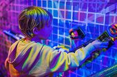 Smart Boy Scientist Making Physical Experiments In The Laboratory. Educational Concept. Discovery poster