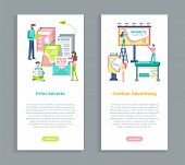 Outdoors Advertising, Print Adverts Vector. People Working On Posting Advertisements, Marketing And  poster