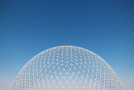 image of geodesic  - transparent geodesic dome roofing with white constructive elements - JPG