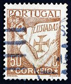 Postage stamp Portugal 1931 Portugal Holding Volume of Lusiads, Allegory