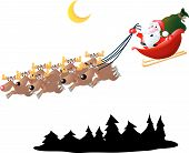 image of santa sleigh  - Santa and his reindeer and sleigh over some trees - JPG