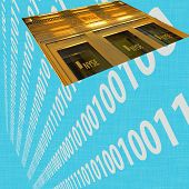 stock photo of nyse  - Wall Street suspended in space against a numerical background slate - JPG