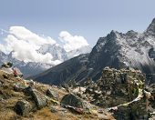 stock photo of sherpa  - on the trail between duglha and lobuche is a memorial area for climbers known as chukpilhara - JPG