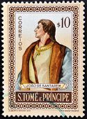 SAO TOME AND PRINCIPE - CIRCA 1980: A stamp printed in Sao Tome shows Joao de Santarem circa 1980