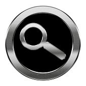 Magnifier Icon Silver, Isolated On White Background