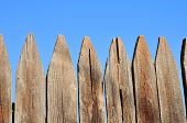 Weathered Wooden Grapestake Fence poster
