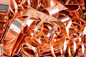 stock photo of copper  - Scrapheap of copper foil  - JPG