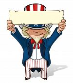 picture of uncle  - Clean-cut, overview cartoon illustration of Uncle Sam holding a sign overhead.