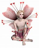 stock photo of faerie  - Valentine fairy boy with heart - JPG
