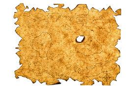 stock photo of treasure map  - Antique Treasure Map Isolated On White Background - JPG