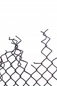 image of barricade  - Grunge aged weathered crushed rusty wire security fence isolated vertical copy space - JPG