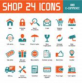Shop 24 Vektor-Icons - Internet Shoppin & E-Commerce