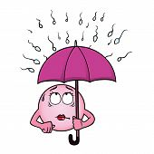 picture of sperm cell  - Egg cell holding an umbrella against a rain of sperm - JPG