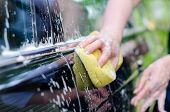 stock photo of suds  - Female hand with yellow sponge washing car - JPG