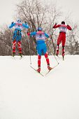 MOSCOW - FEB 9: Group of skiers negotiates a hill during FIS Continental Cup (Eastern Europe) ski ra