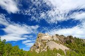picture of mount rushmore national memorial  - Mount Rushmore National Memorial carved into the peaks of the Black Hills in South Dakota - JPG