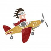 image of propeller plane  - retro cartoon propeller plane - JPG