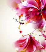 stock photo of sparking  - Beautiful fashion women with abstract hair and design elements - JPG