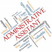 foto of polite  - Administrative Assistant Word Cloud Concept angled with great terms such as professional secretary executive and more - JPG