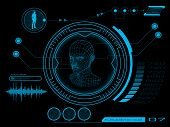 stock photo of futuristic  - Futuristic graphic virtual user interface HUD blue - JPG