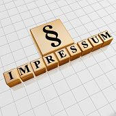 Impressum And Paragraph Sign In Golden Cubes