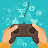 stock photo of controller  - Vector online game concept  - JPG