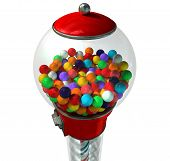 stock photo of gumball machine  - A regular red vintage gumball dispenser machine made of glass and reflective plastic with chrome trim filled with multicolored gumballs on an isolated white background - JPG