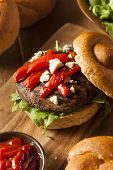 stock photo of veggie burger  - Healthy Vegetarian Portobello Mushroom Burger with Cheese and Veggies  - JPG