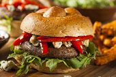 stock photo of sauteed  - Healthy Vegetarian Portobello Mushroom Burger with Cheese and Veggies - JPG