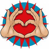 image of nonverbal  - Vintage Pop Art Hand Heart Sign - JPG