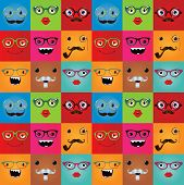 picture of freaky  - Funny hipster monster face expressions seamless background - JPG