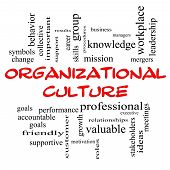 Organizational Culture Word Cloud Concept In Red Caps
