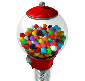 image of gumball machine  - A regular red vintage gumball dispenser machine made of glass and reflective plastic with chrome trim filled with multicolored gumballs on an isolated white background - JPG