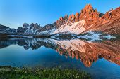 stock photo of lagos  - Lago dei Piani at sunny morning Tre Cime Italian Dolomites - JPG