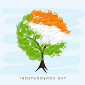 image of indian independence day  - Beautiful tree with Indian trio colors leaves on blue background for 15th of August - JPG