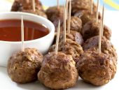 stock photo of meatballs  - Meatball appetizers with a dipping sauce - JPG