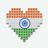 stock photo of ashoka  - Stylish heart shape in national flag colors with ashoka wheel for 15th of August - JPG