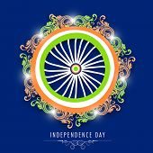 foto of ashoka  - Beautiful Ashoka Wheel decorated with floral design in national flag colors on blue background - JPG