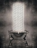 image of surreal  - Surreal imagine in black and white of a beautiful classic old fashioned typewriter with a very long paper full of the alphabet letters in a vintage style - JPG