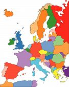 stock photo of yugoslavia  - Europe Regional Map with individual Countries - JPG