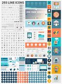 stock photo of divider  - One Page Website Design Template with UI Elements kit and Flat Design Concept Icons - JPG